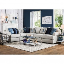 Furniture of America Palma Contemporary Fabric Sectional in Beige