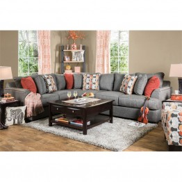 Furniture of America Velma Contemporary Fabric Sectional in Gray