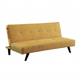 Furniture of America Tami Tufted Fabric Sleeper Sofa Bed in Yellow
