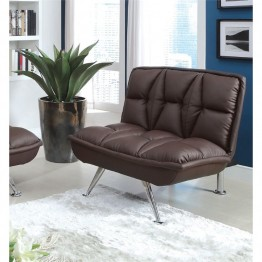 Furniture of America Becky Faux Leather Futon Chair in Brown