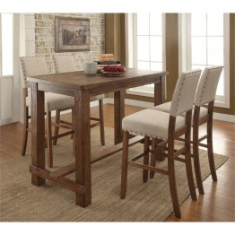 Furniture of America Whunter 5 Piece Pub Set in Natural Tone