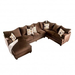 Furniture of America Poirier Fabric Sectional in Chocolate