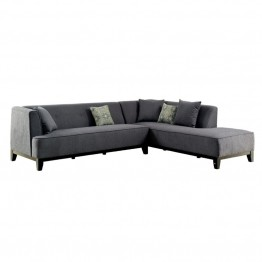 Furniture of America Enna Fabric Sectional in Gray