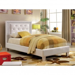Furniture of America Hilary Full Tufted Faux Leather Platform Bed