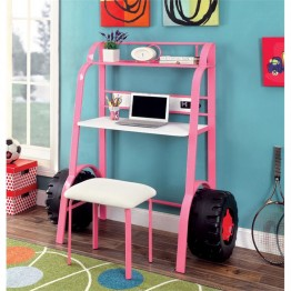 Furniture of America Ramirez Kids Desk with Stool in Pink