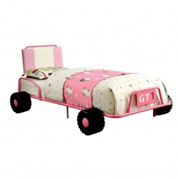 Furniture of America Ramirez Twin Metal Race Car Bed in Pink