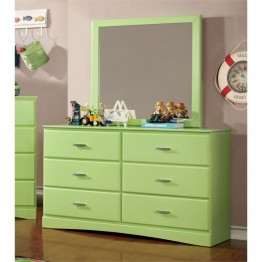 Furniture of America Geller 6 Drawer Dresser and Mirror Set in Green