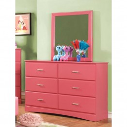 Furniture of America Geller 6 Drawer Dresser and Mirror Set in Pink
