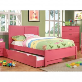Furniture of America Geller Full Panel Bed in Raspberry Pink