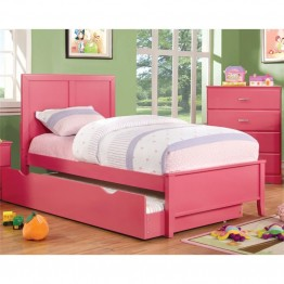 Furniture of America Geller Twin Panel Bed in Raspberry Pink