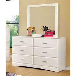 Furniture of America Geller 6 Drawer Dresser and Mirror Set in White