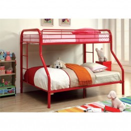 Furniture of America Capelli Twin over Full Metal Bunk Bed in Red