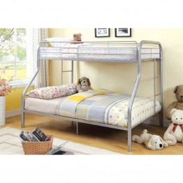Furniture of America Capelli Twin over Full Metal Bunk Bed in Silver