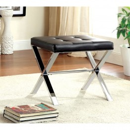 Furniture of America Xella Tufted Faux Leather Foot Stool in Black