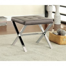 Furniture of America Xella Tufted Faux Leather Foot Stool in Gray
