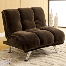 Furniture of America Edlee Fabric Futon Chair in Dark Brown