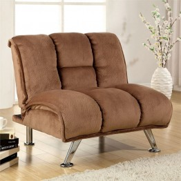 Furniture of America Edlee Fabric Futon Chair in Light Mocha