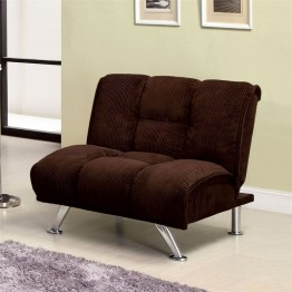 Furniture of America Hannigan Plush Corduroy Futon Chair in Chocolate