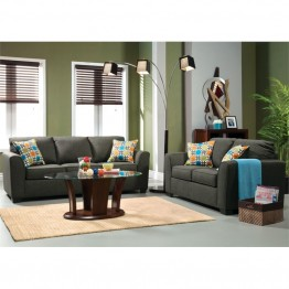 Furniture of America Cornwall 2 Piece Fabric Sofa Set in Charcoal