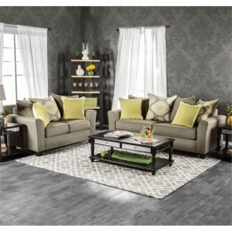 Furniture of America Andes 2 Piece Fabric Sofa Set in Gray