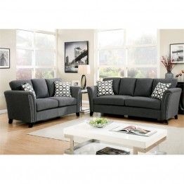 Furniture of America Shirley Fabric 3 Piece Sofa Set in Gray