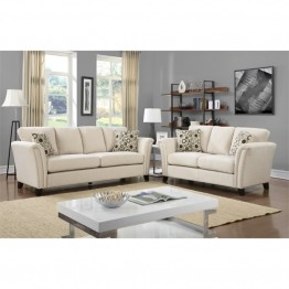 Furniture of America Shirley Fabric 2 Piece Sofa Set in Ivory