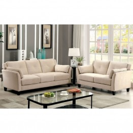 Furniture of America Haworth 2 Piece Flannelette Sofa Set in Beige