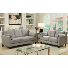 Furniture of America Haworth 2 Piece Flannelette Sofa Set in Grey
