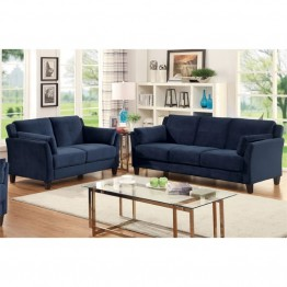 Furniture of America Haworth 2 Piece Flannelette Sofa Set in Navy