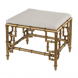 Sterling Tunbridge Foot Stool in Gold Leaf and Cream Linen