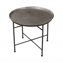 Sterling Accent Table in Pewter and Metallic Rub