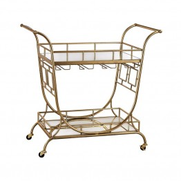 Sterling Bar Cart in Gold Leaf and Clear