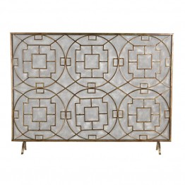 Sterling Firescreen Fireplace Screen in Silver and Dark Brown Wash