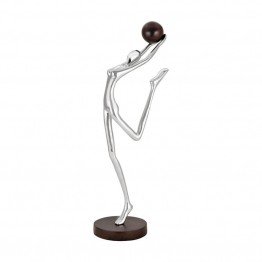 Sterling Ballon Floor Sculpture in Polished Nickel and Stained Wood