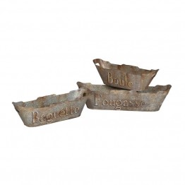 GuildMaster 3 Piece Tin Bread Basket Set in Aged Metal