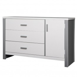 Dream On Me Cafeina 3 Drawer Dresser in White and Gray
