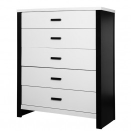 Dream On Me Cafeina 5 Drawer Chest in Black and White