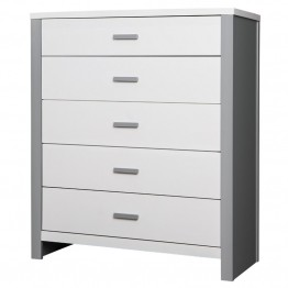 Dream On Me Cafeina 5 Drawer Chest in White and Gray