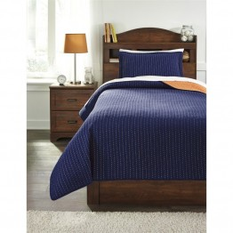Ashley Dansby Twin Coverlet Set in Navy and Orange