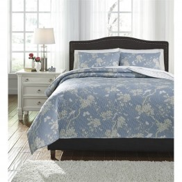 Ashley Damita Queen Quilt Set in Blue and Beige
