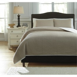 Ashley Orson Queen Coverlet Set in Natural