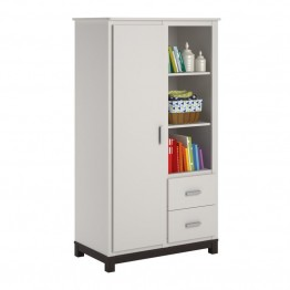 Ameriwood Home Leni Armoire in White and Coffee House Plank