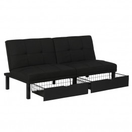 DHP Skye Linen Storage Futon in Black