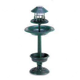 Zingz and Thingz Verdigris Solar Birdbath Planter