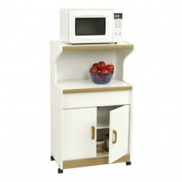 Pemberly Row Microwave Cart with Oak Trim in White Stipple