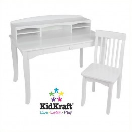KidKraft Avalon Kids Desk with Hutch and Chair in White
