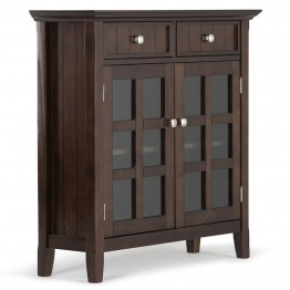 Simpli Home Acadian Entryway Storage Cabinet in Tobacco Brown