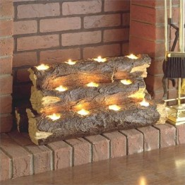 Pemberly Row Tealight Fireplace Log in Rustic Brown