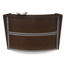 OFM Marque Series Single Unit Curved Reception Desk in Walnut