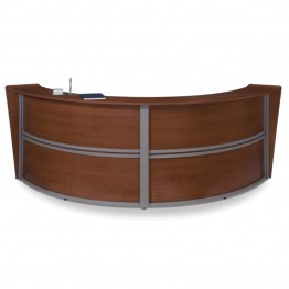 OFM Marque Series Double Unit Curved Reception Desk in Cherry